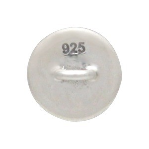 Sterling Silver Jewelry Button - Etched Moon and Stars 8x5mm