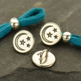 Sterling Silver Jewelry Button - Etched Moon and Stars