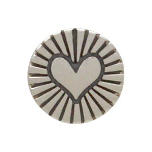 Sterling Silver Jewelry Button - Etched Radiant Heart 8x5mm