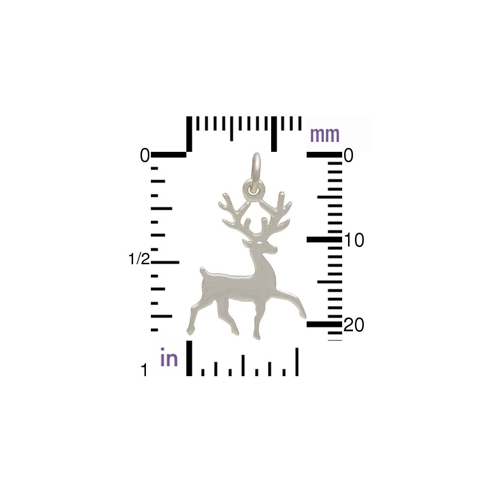 Sterling Silver Stag Charm - Animal Charms 23x15mm