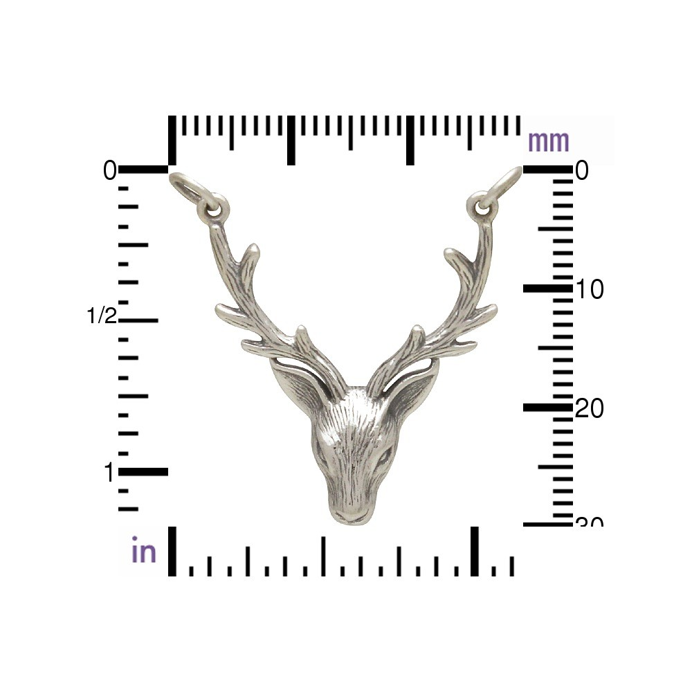 Jewelry Supplies - Stag Head Pendant Silver Links 33x24mm