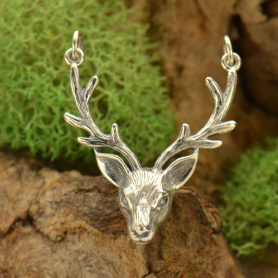 Jewelry Supplies - Stag Head Pendant Silver Links