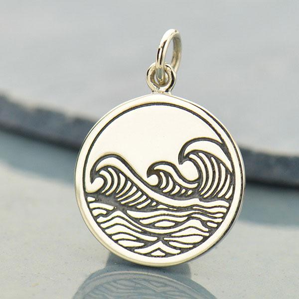 Ocean Waves Pendant Surf Beach Wave Breaker Sea NEW 925 Sterling Silver