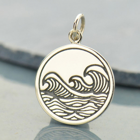 Sterling Silver Ocean Waves Pendant - Etched 20x15mm