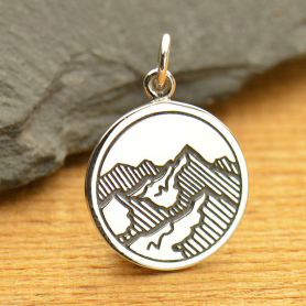 Sterling Silver Mountain Charm - Etched 20x15mm