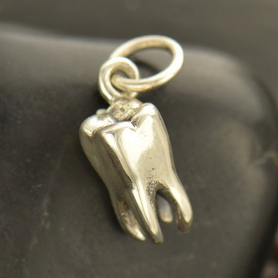 Sterling Silver Tooth Charm - Realistic