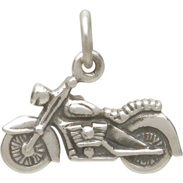 Sterling Silver Motorcycle Charm - Hobby Charms 13x15mm