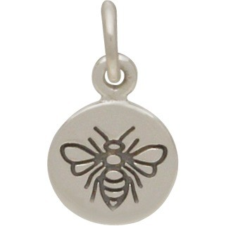 Sterling Silver Small Round Charm with Etched Bee 14x8mm