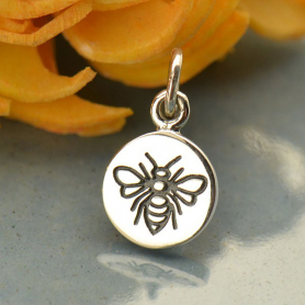Sterling Silver Small Round Charm with Etched Bee