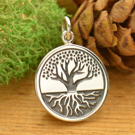 Sterling Silver Tree of Life Charm with Etched Roots