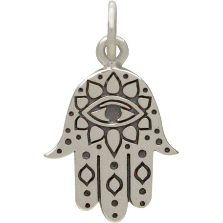 Sterling Silver Hamsa Hand with Etched Evil Eye 19x11mm