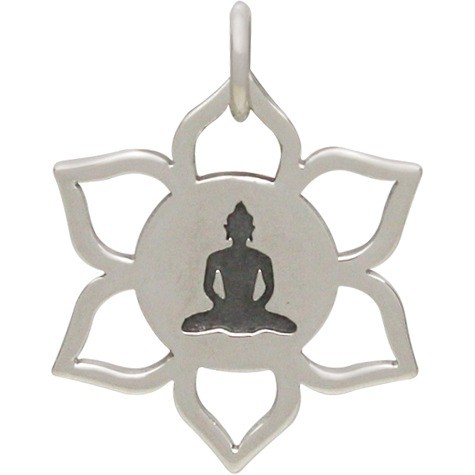 Sterling Silver Lotus Pendant with Meditating Buddha 20x17mm