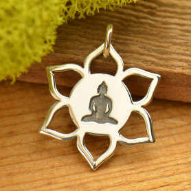Sterling Silver Lotus Pendant with Meditating Buddha