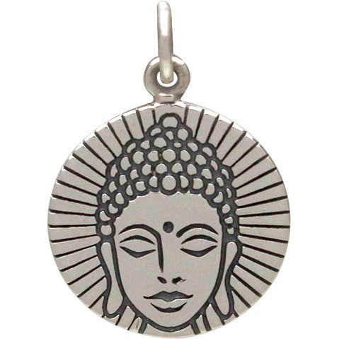 Sterling Silver Round Charm with Etched Buddha Head 20x14mm