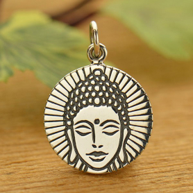 Sterling Silver Round Charm with Etched Buddha Head