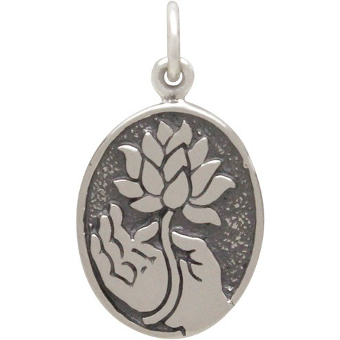 Sterling Silver Buddha Charm with Lotus - Oval Disc 21x1mm