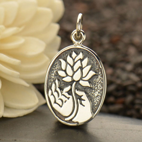 Sterling Silver Buddha Charm with Lotus - Oval Disc