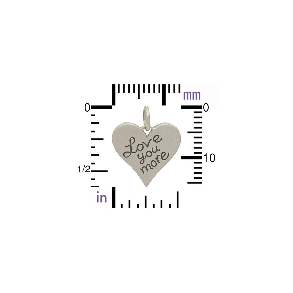 Sterling Silver Word Charm - Love You More 15x13mm