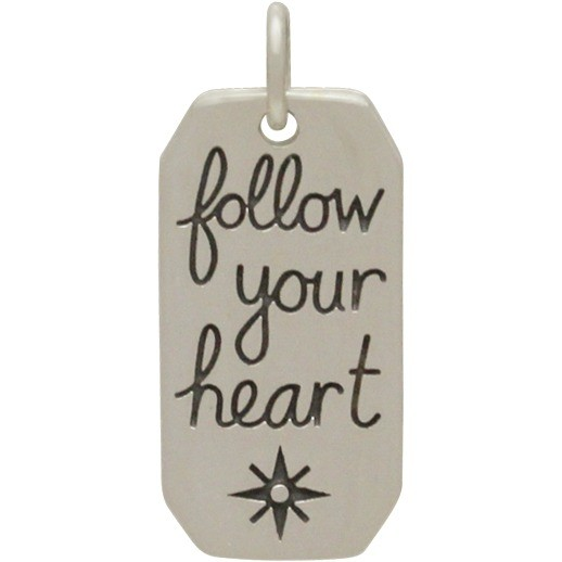 Sterling Silver Word Charm - Follow Your Heart 23x10mm