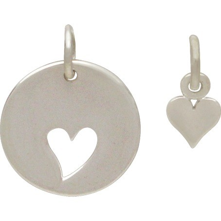 Sterling Silver Round Charm with Heart Cutout and Heart Set