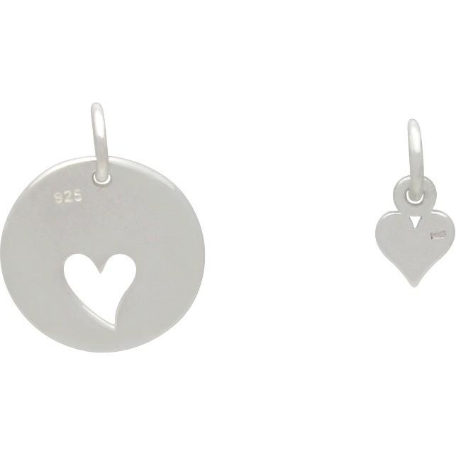Tiny Heart Charm Heart Cutout Silver Heart Pendant Sterling Silver Disc Silver Heart Charm Heart Cut Out Heart Charm Sterling Silver