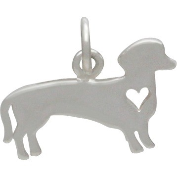 Sterling Silver Dog Charm - Dachshund with Heart 13x13mm