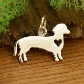 Sterling Silver Dog Charm - Dachshund with Heart