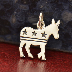 Sterling Silver Democratic Donkey Charm 15x12mm