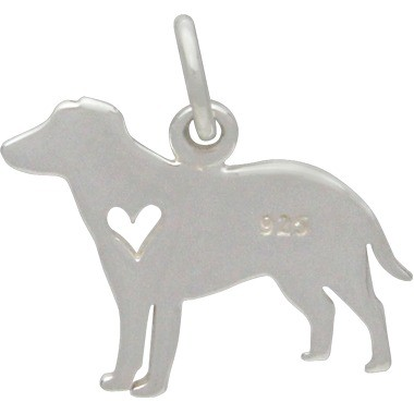 Sterling Silver Dog Charm - Labrador with Heart 15x17mm
