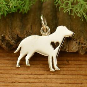 Sterling Silver Dog Charm - Labrador Retriever with Heart