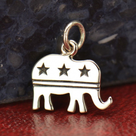 Sterling Silver Republican Elephant Charm 15x13mm