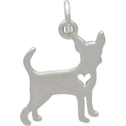 Sterling Silver Dog Charm - Chihuahua with Heart 18x11mm