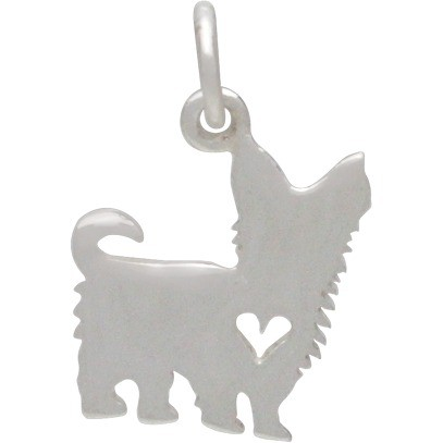 Silver Dog Charm - Yorkshire Terrier with Heart 17x10mm