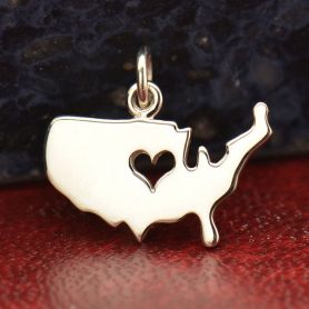Silver United States Pendant with Heart Cutout DISCONTINUED
