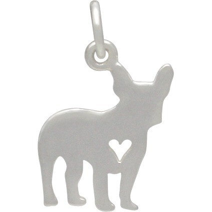 Sterling Silver Dog Charm -French Bulldog with Heart 18x10mm