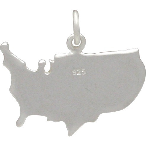 Sterling Silver United States Pendant 18x20mm