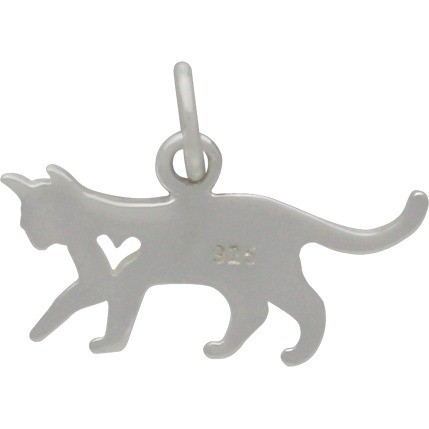 Sterling Silver Cat Charm with Heart Cutout 13x17mm