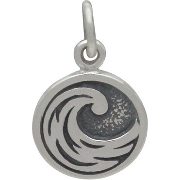 Sterling Silver Water Charm - Four Elements 16x10mm