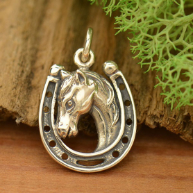 Sterling Silver Horse Charm in Horseshoe
