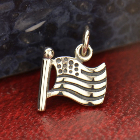 Sterling Silver American Flag Charm DISCONTINUED