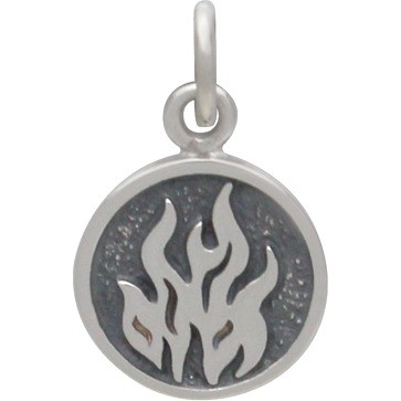 Sterling Silver Fire Charm -  Four Elements 16x10mm