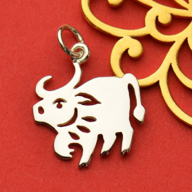 Sterling Silver Chinese Zodiac Charm - Ox 19x14mm