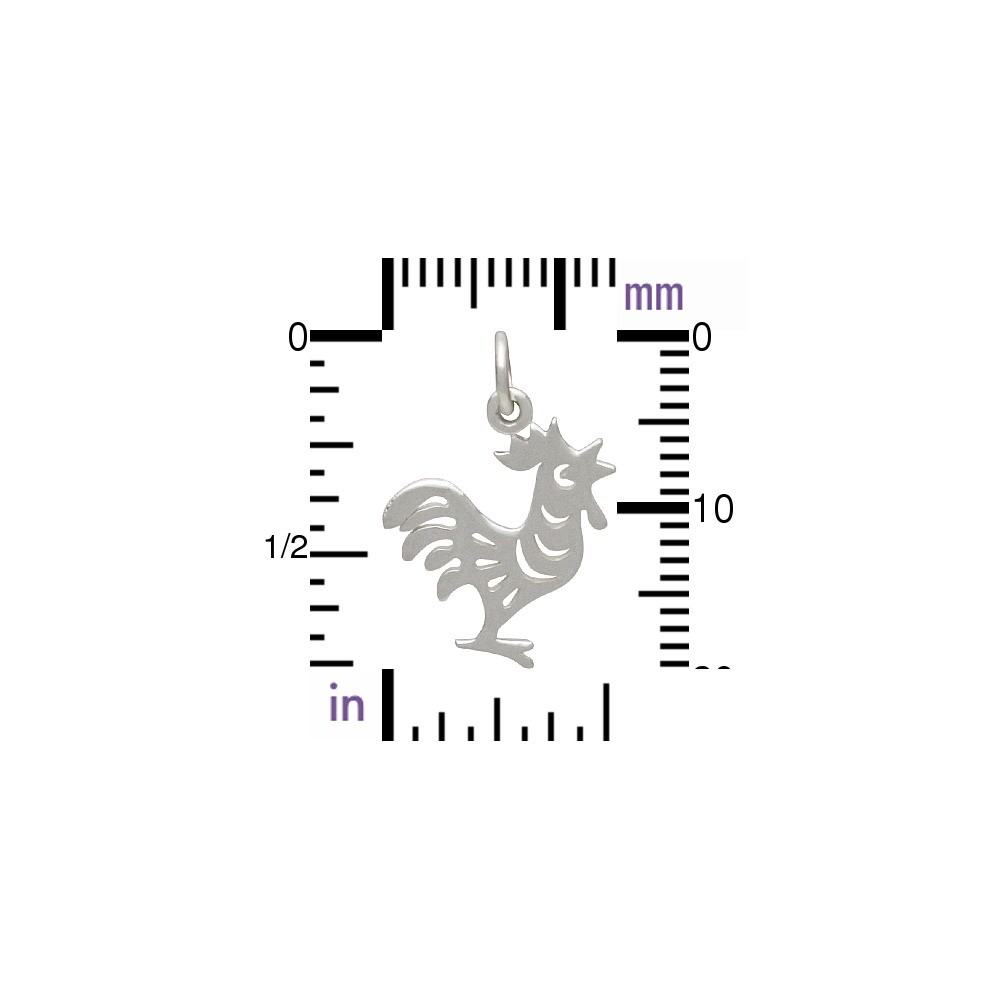 Sterling Silver Chinese Zodiac Charm -  Rooster 19x12mm