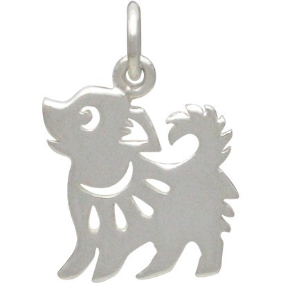 Sterling Silver Chinese Zodiac Charm -  Dog 17x12mm