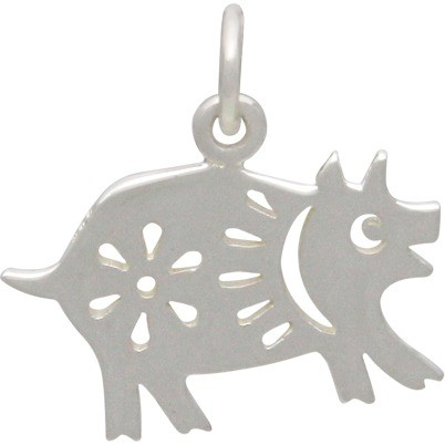 Sterling Silver Chinese Zodiac Charm - Pig 17x17mm