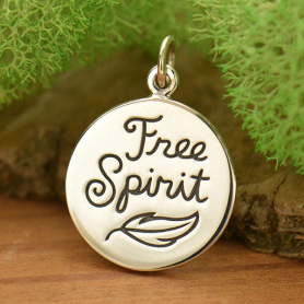 Sterling Silver Free Spirit Charm with Feather 20x14mm