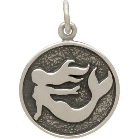 Sterling Silver Etched Mermaid Charm 20x15mm