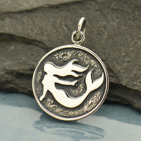 Sterling Silver Etched Mermaid Charm