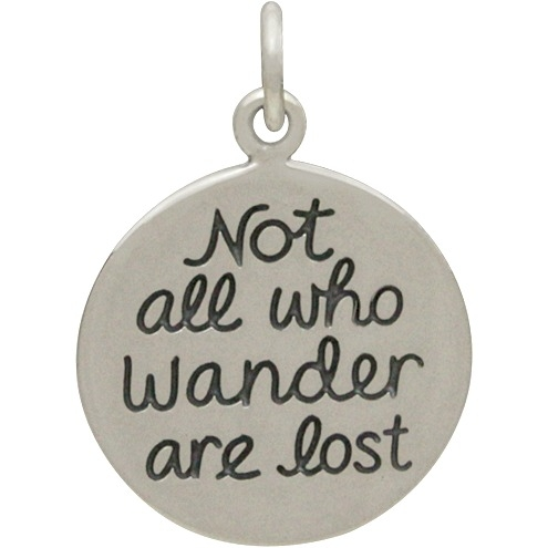 Silver Not All Who Wander Are Lost Quote Charm 20x14mm