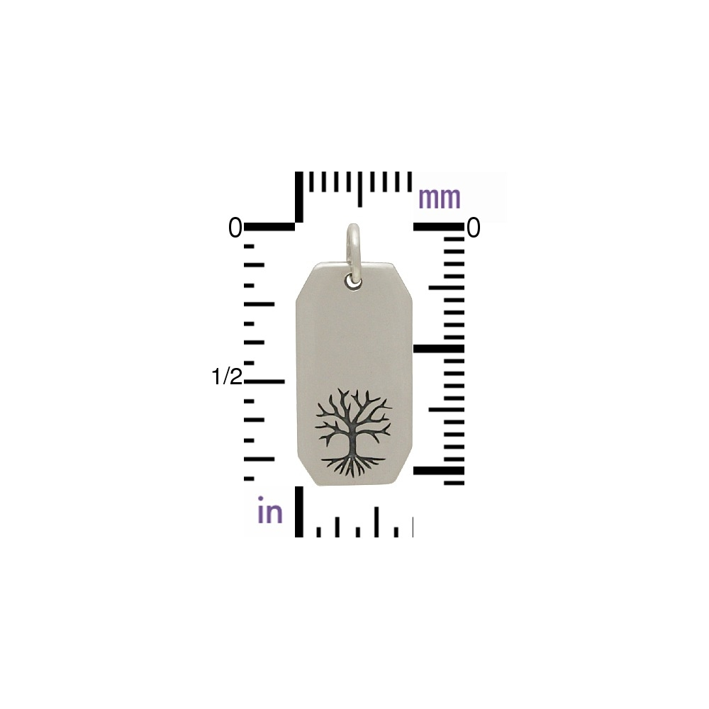 Sterling Silver Etched Tree of Life Rectangle Charm